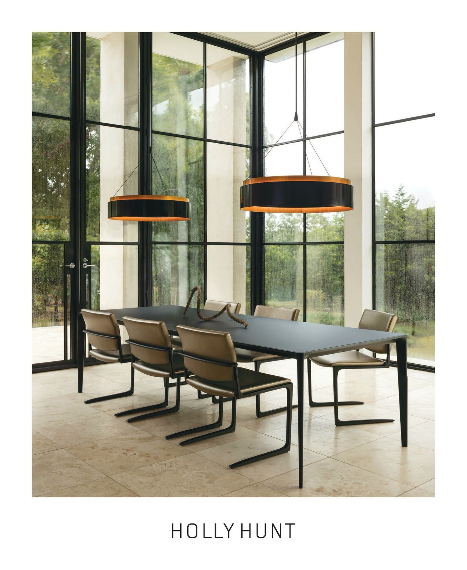 Holly Hunt Design Shadow Dining Table And Chairs Ember