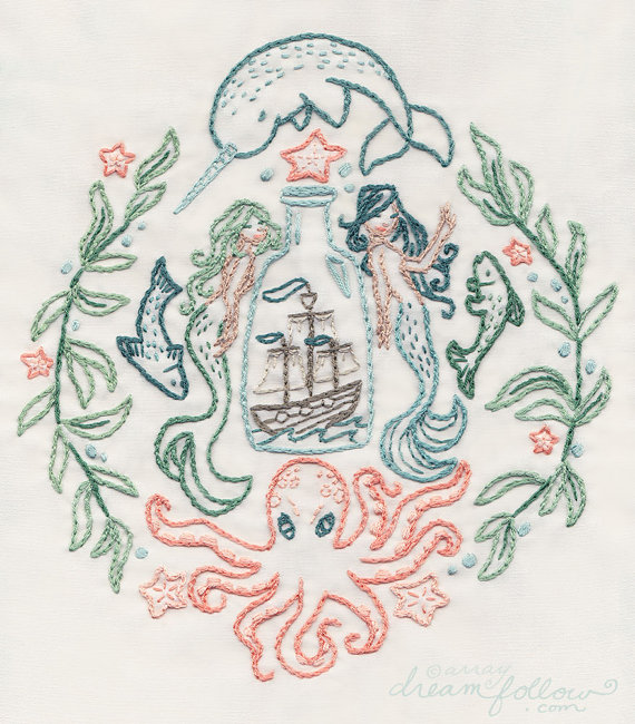 Photo of Ship in a Bottle Hand Embroidery Sample PDF Obtain, Mermaids, Narwhal, Octopus embroidery hoop