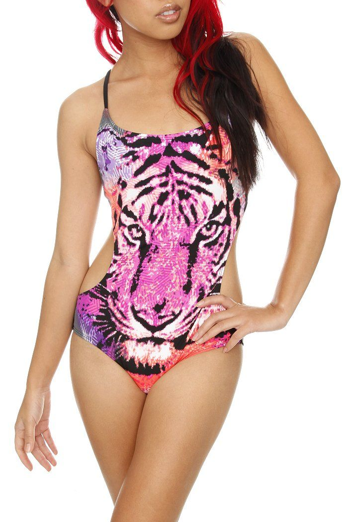 SPRiNG BREAKERS. LOVEsick Tiger Face Monokini. SOLD OUT?!?!?! Come on Hot Topic! Why sold out!?:(((