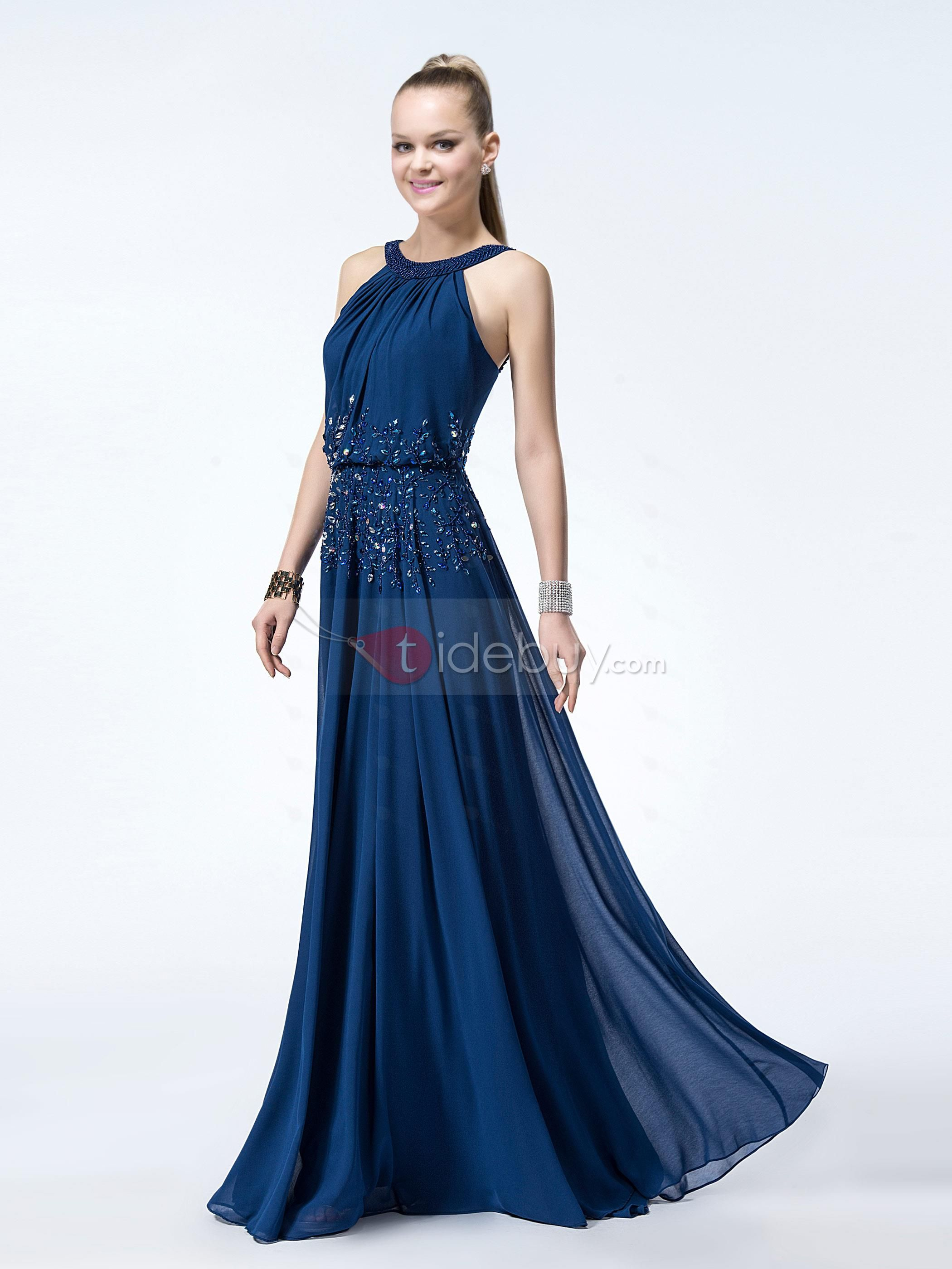 Stunning A-Line Beading Dropped Waistline Floor-Length Evening Dress : Tidebuy.com