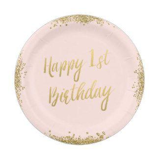 Blush Pink Faux Gold Glitter First Birthday Paper Plate  sc 1 st  Pinterest & Blush Pink Faux Gold Glitter First Birthday Paper Plate | Vienna 1st ...