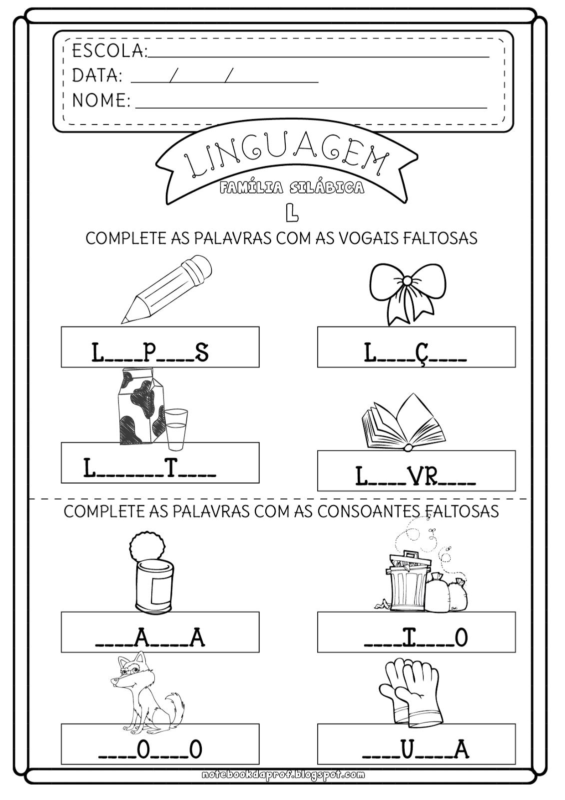 Atividade Letra L - Construindo palavras e Separando Sílabas ...