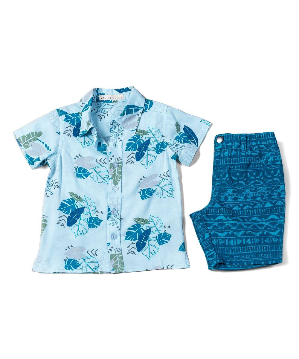 fdb01f0f0 Blue Hawaiian Shirt & Geoprint Shorts Set - Toddler & Boys | Products