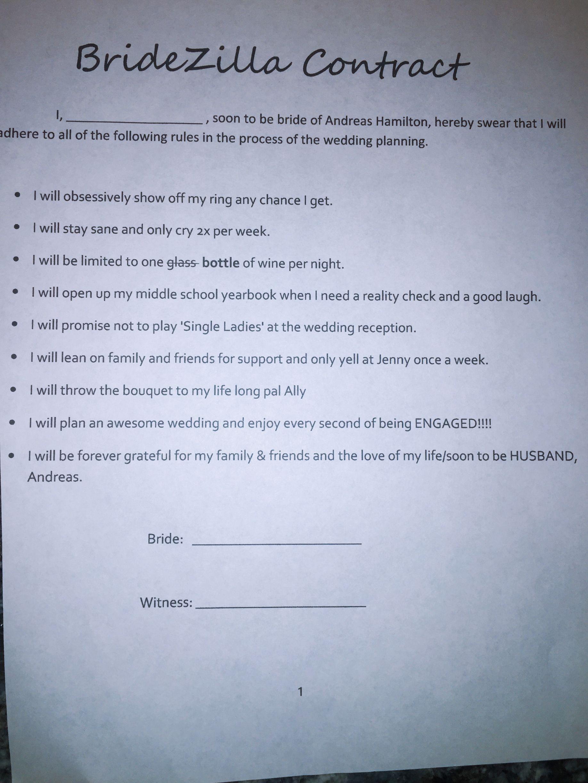 Bridezilla contract #bridetobe #funny #bridesmaid #wedding #weddingideas #bridezillas #brides # ...