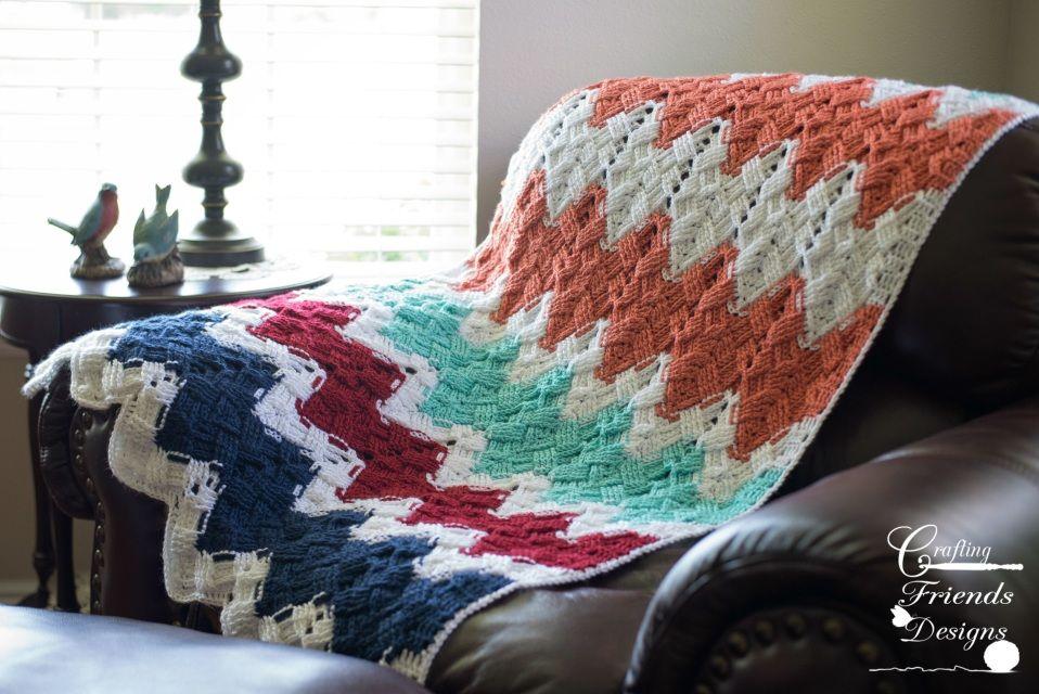 Basket Weave Chevron Afghan Crochet Pattern