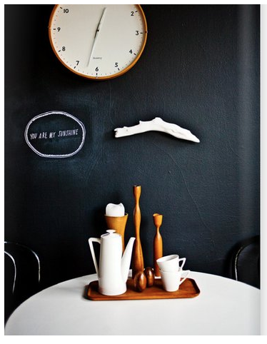 black wall white clock