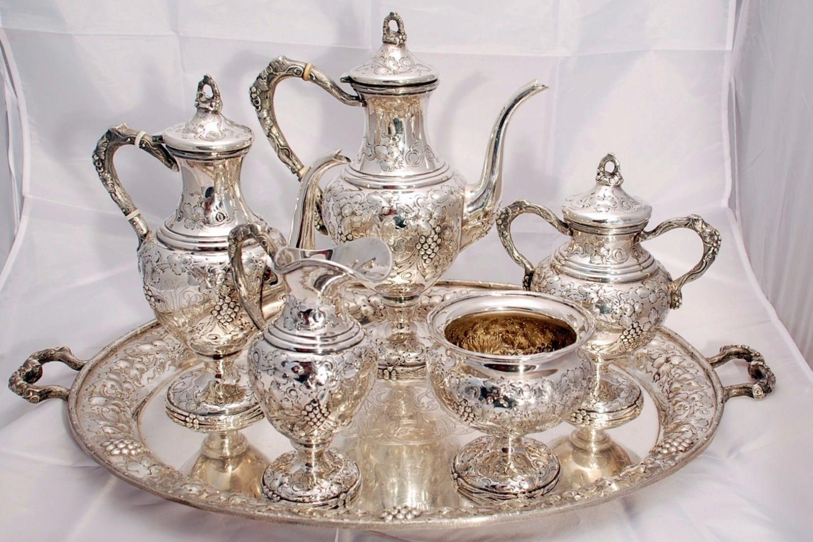 Complete sterling silver tea coffee service with tray by