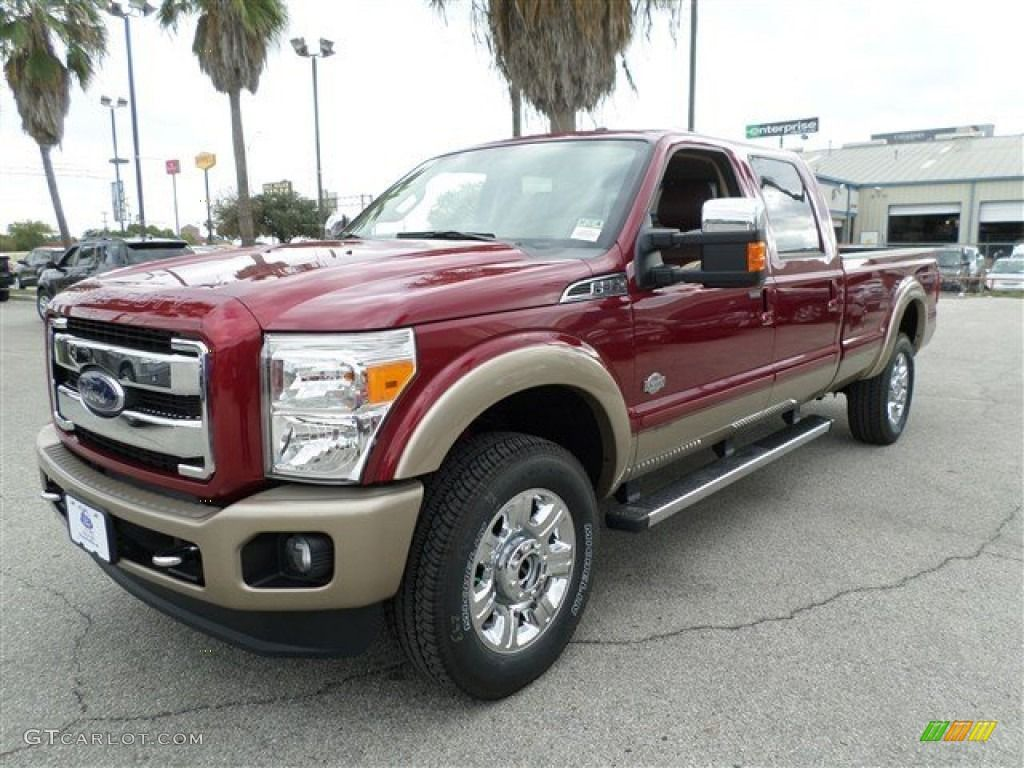2014 f350 super duty king ranch crew cab 4x4 ruby red metallic king ranch chaparral leather photo 1 [ 1024 x 768 Pixel ]