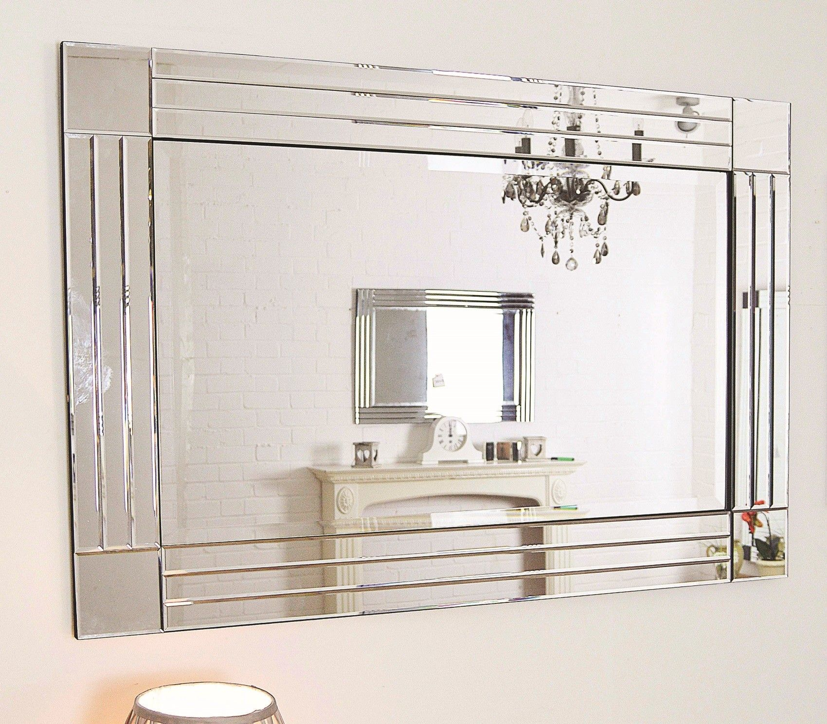 Sheffield Home Beveled Glass Mirror Home Design Ideas: Large Silver Triple Bevelled Edge Venetian Wall Mirror