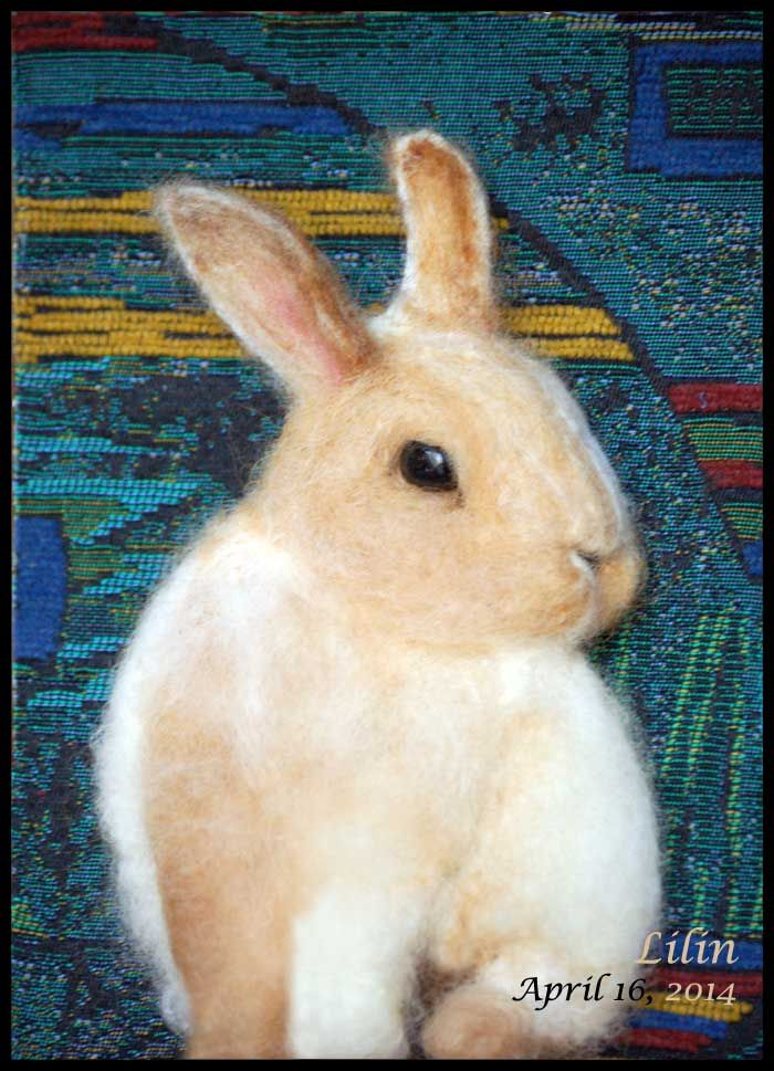 """April Bunny, needle felted wall art by FurryMemories.com framed in 5"""" X 7"""" shadowbox"""