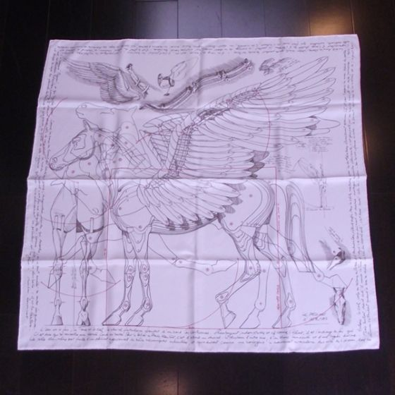 This is a one of a kind authentic HERMES Silk Pegasus Scarf.   The motif is a classic rendering of the mechanics of Pegasus such as would be done by Leonardo da Vinci.