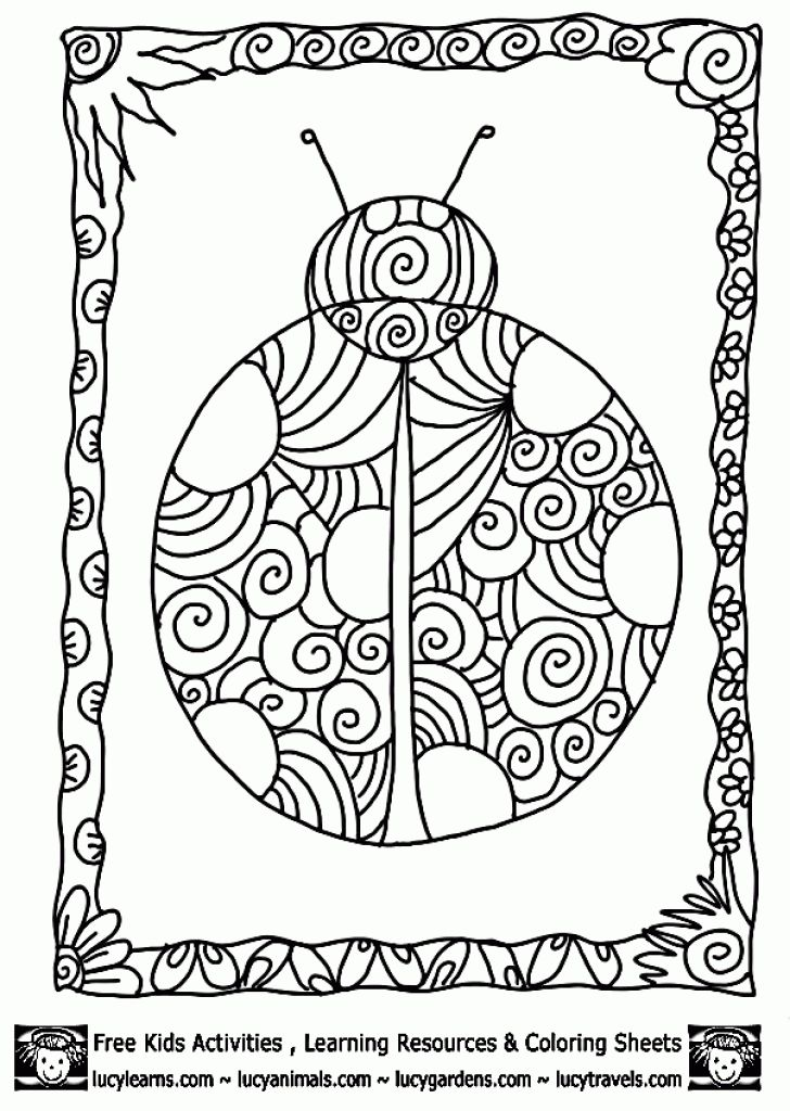 Beautiful Ladybug Doodle Art Coloring Page For Adults