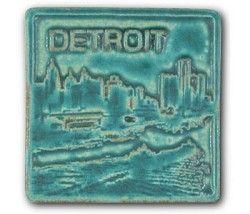 Detroit Skyline 4 X4 Pewabic Tile Pure Detroit Detroit Skyline Pewabic Pottery Detroit