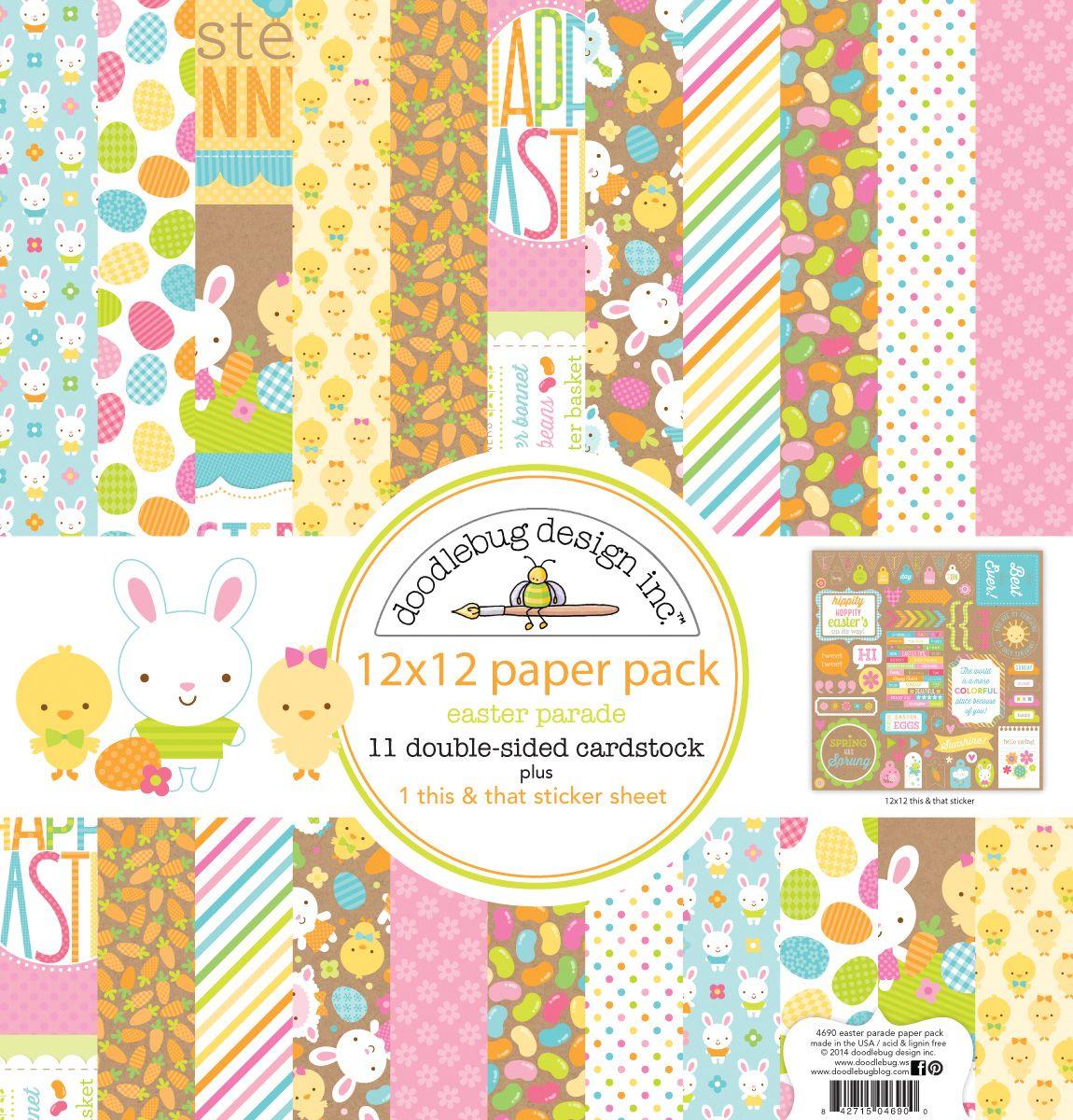 Scrapbook paper collections - Doodlebug Designs Easter Parade 12x12 Easter Scrapbook Paper Pack 11 Main