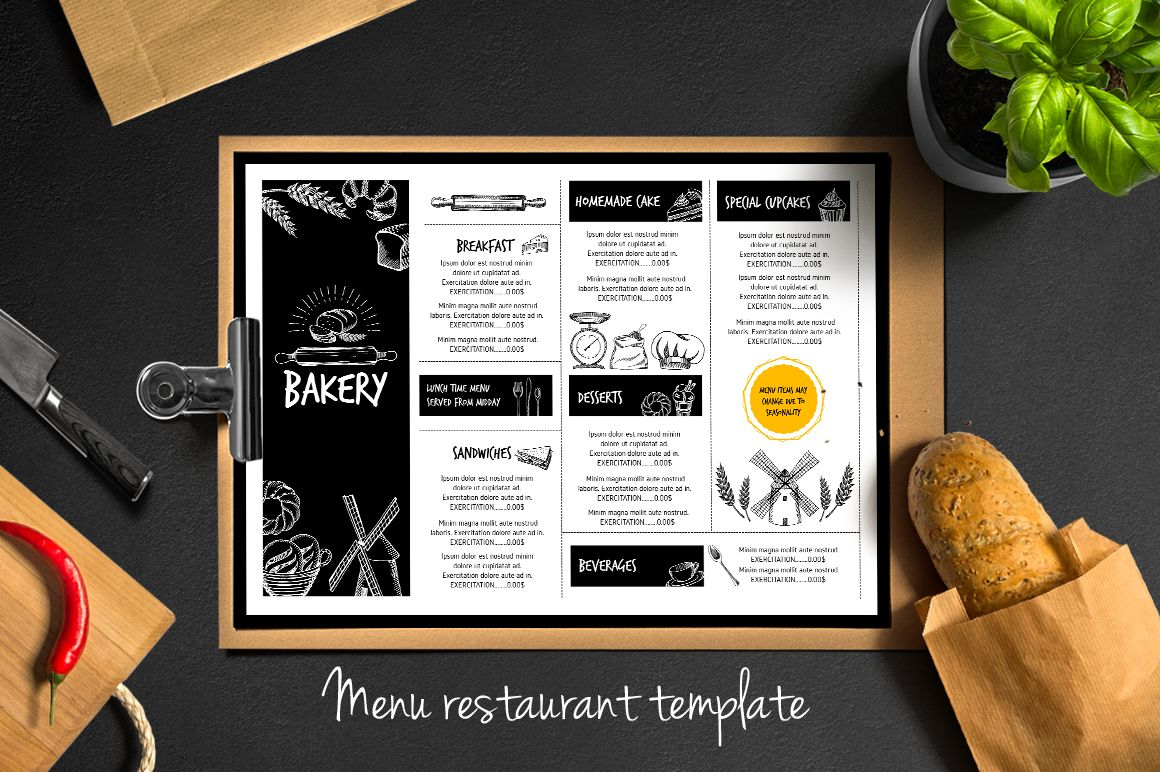 food menu, bakery flyer #5 by barcelona design shop on creative