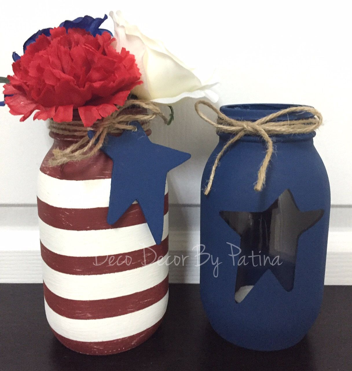 Patriotic mason jar patriotic decor th of july mason jars