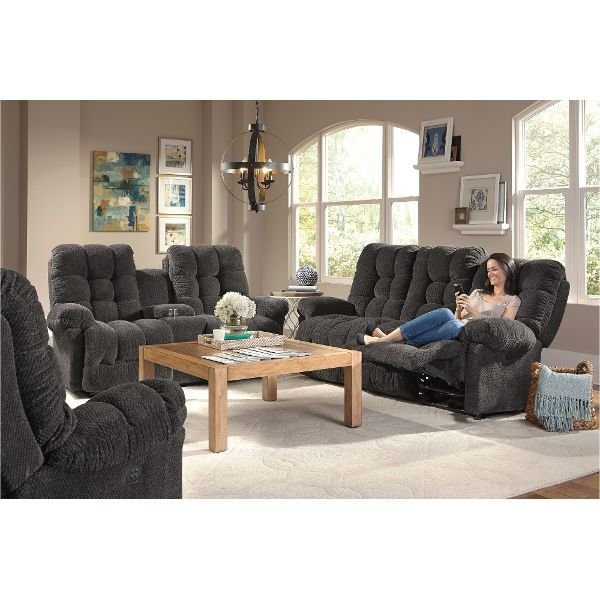 Gray Overstuffed Loveseat And Recliner Couch