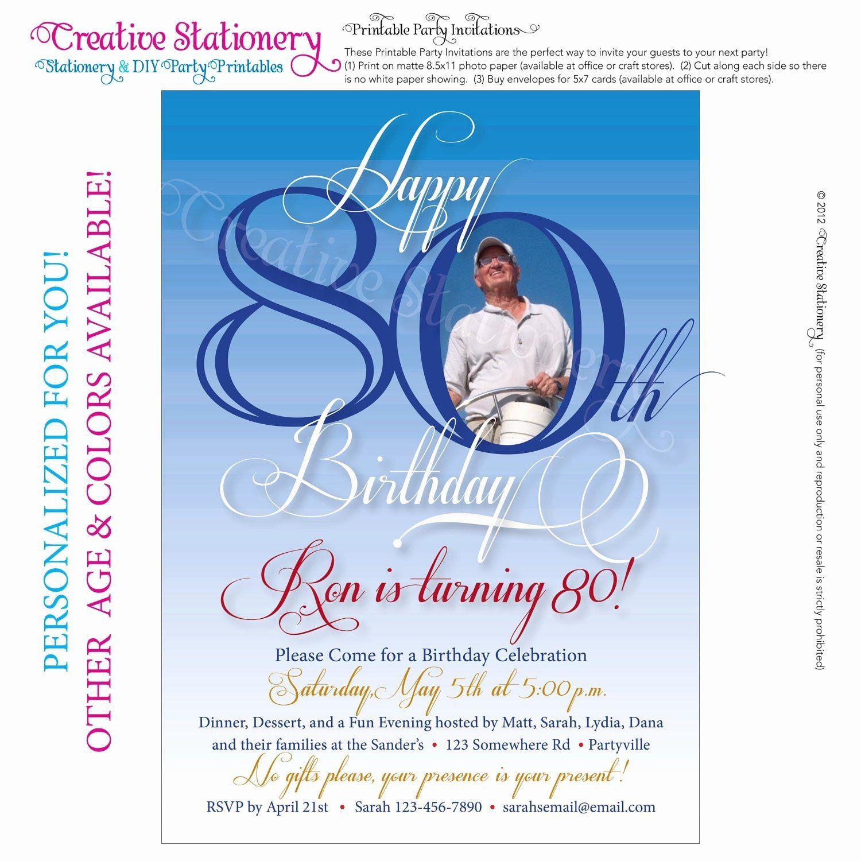 80th Birthday Invitation Templates Elegant Mens 80th Birthday Printable M 80th Birthday Invitations 40th Birthday Invitations Birthday Invitation Card Template