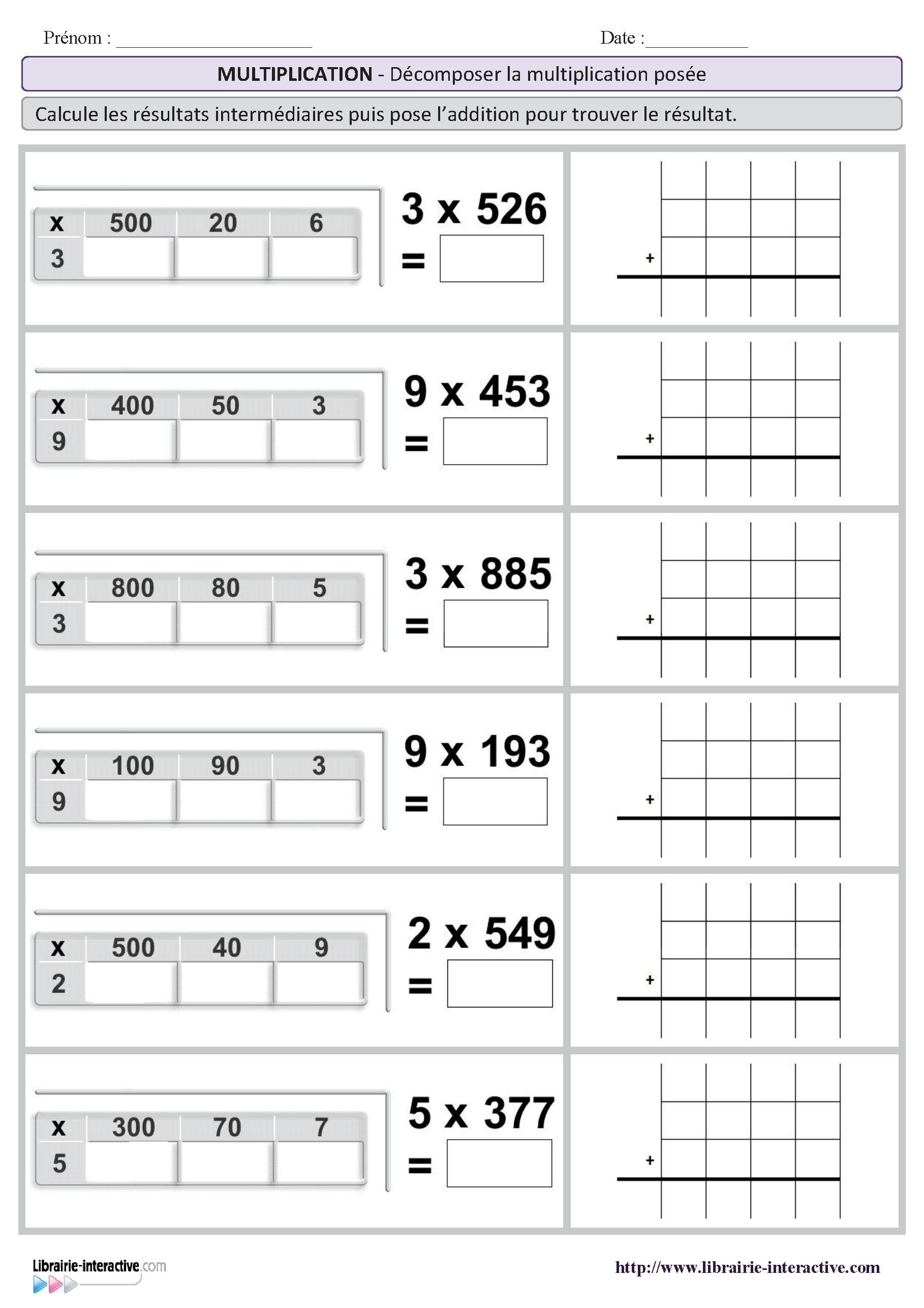 2 fiches pour comprendre plus facilement le sens de la multiplication pos e par un chiffre en. Black Bedroom Furniture Sets. Home Design Ideas