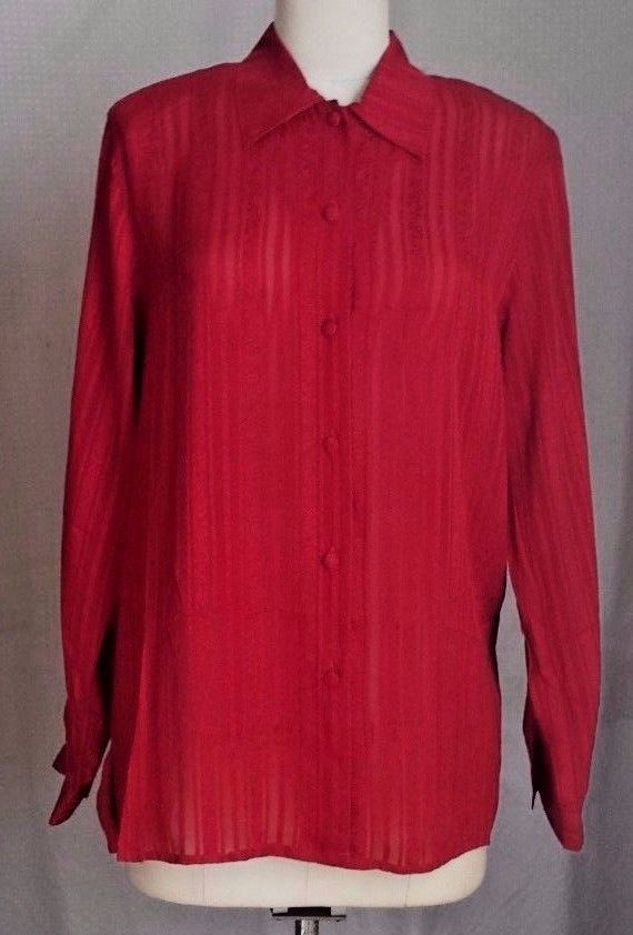 67f0ad9d2fa03b Ladies Quo Red 100% Silk Semi Sheer Long Sleeve Button Down Blouse Size M   QuoSilk  Blouse  Career