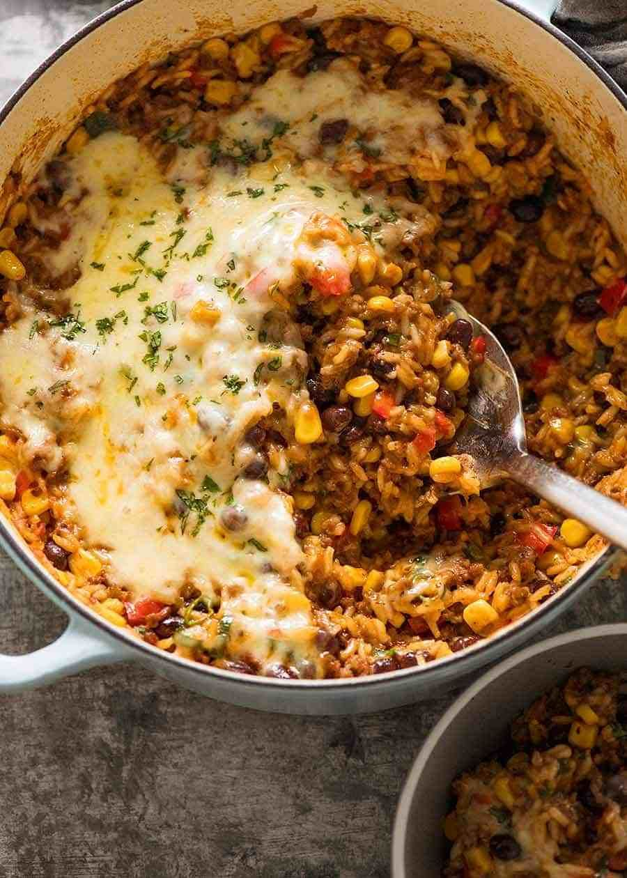Mexican Ground Beef Casserole With Rice Beef Mince Recipe Mexican Ground Beef Casserole Minced Beef Recipes Dinner With Ground Beef