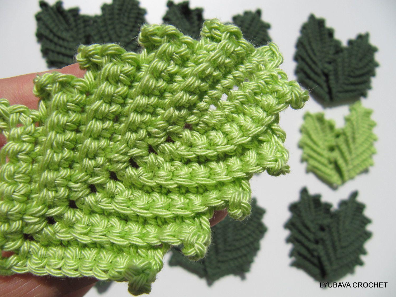 Crochet Leaf PATTERN, Crochet Flower Applique, Crochet Leaves ...