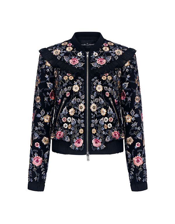 b2809fa6 Needle & Thread: Whisper Floral Embroidered Ruffle Bomber Jacket (item  detail - 1)