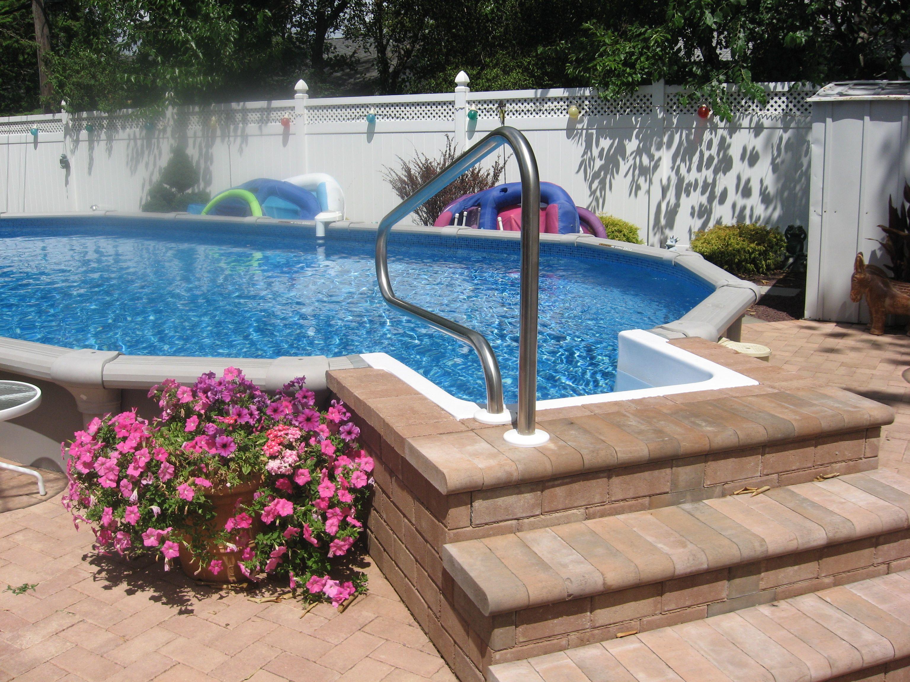 Semi Inground Pool With Inground Steps Backyard Pool Landscaping