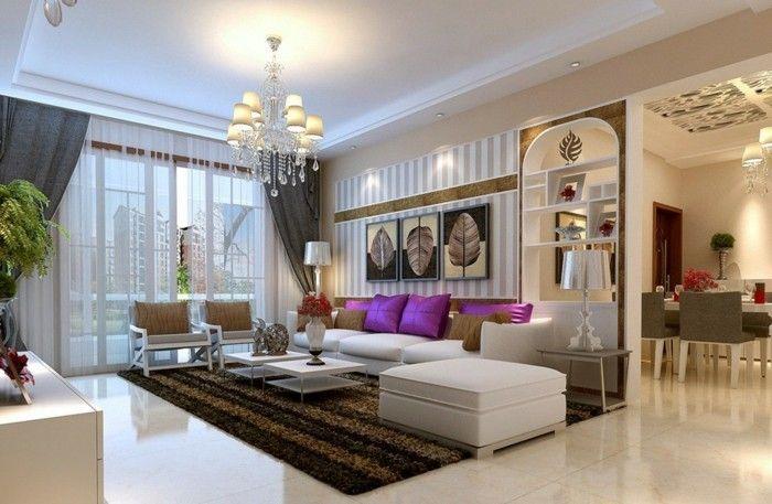 lampen wohnzimmer abgehängte decke eleganter teppich lila akzente, Wohnzimmer
