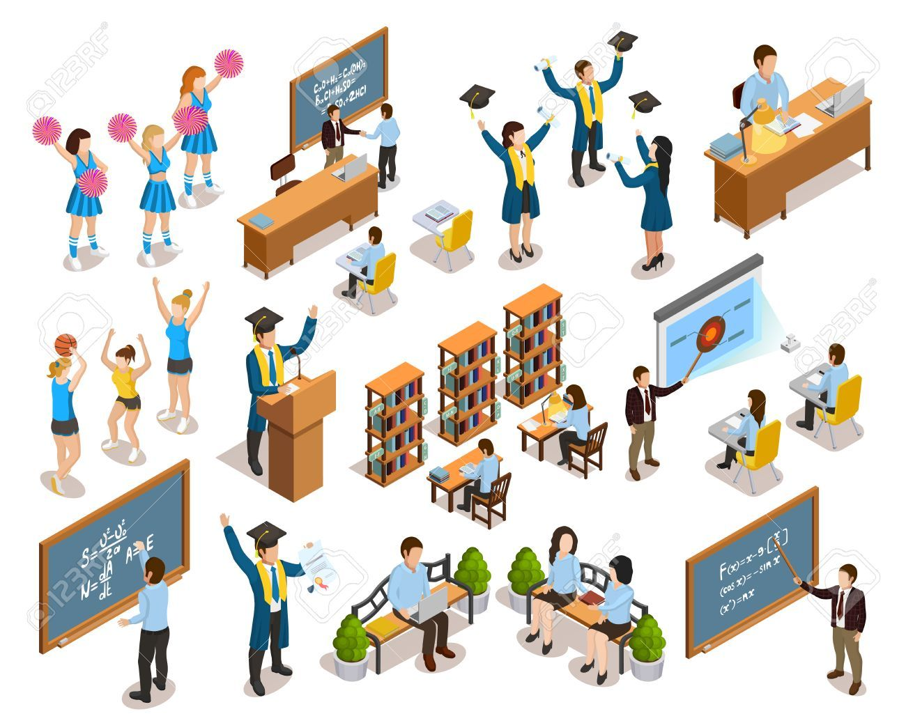 College University Students Writing On Blackboard Studying In Library Cheerleading And Graduating Isometric Icons University Student Isometric Student Writing
