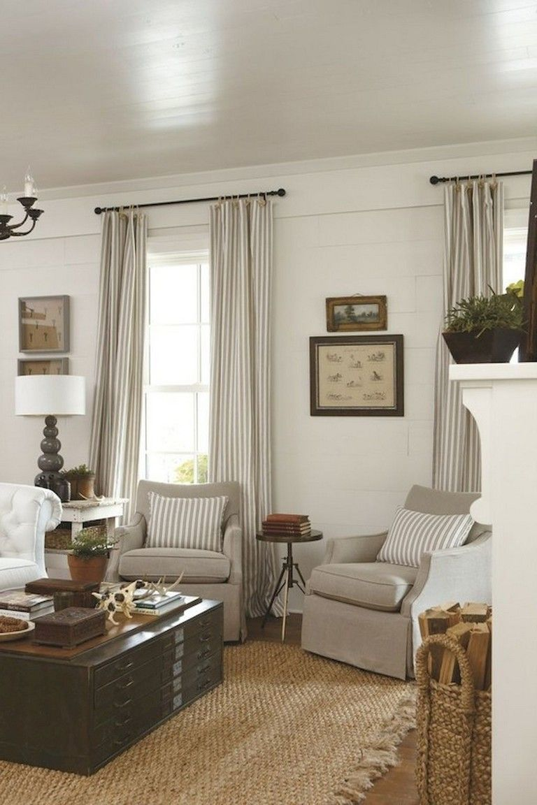 90+ Awesome Modern Farmhouse Curtains for Living Room ... on Farmhouse Living Room Curtain Ideas  id=17849