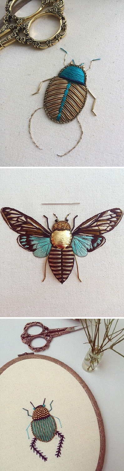 Insect Embroideries by Humayrah Poppins | Bordado, Puntadas y Hilo