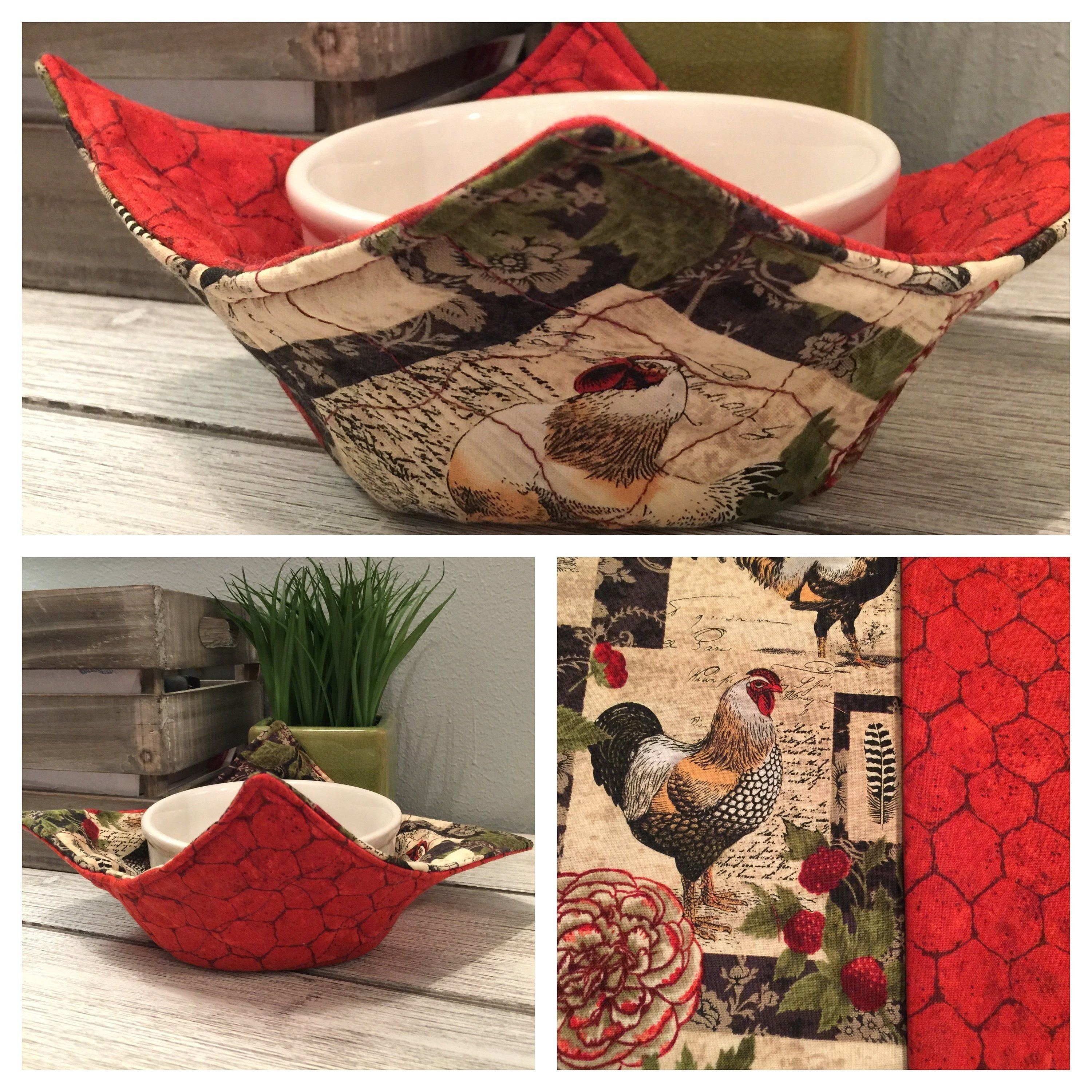 Bowl cozy rooster bowl cozy microwavable bowl cozy etsy