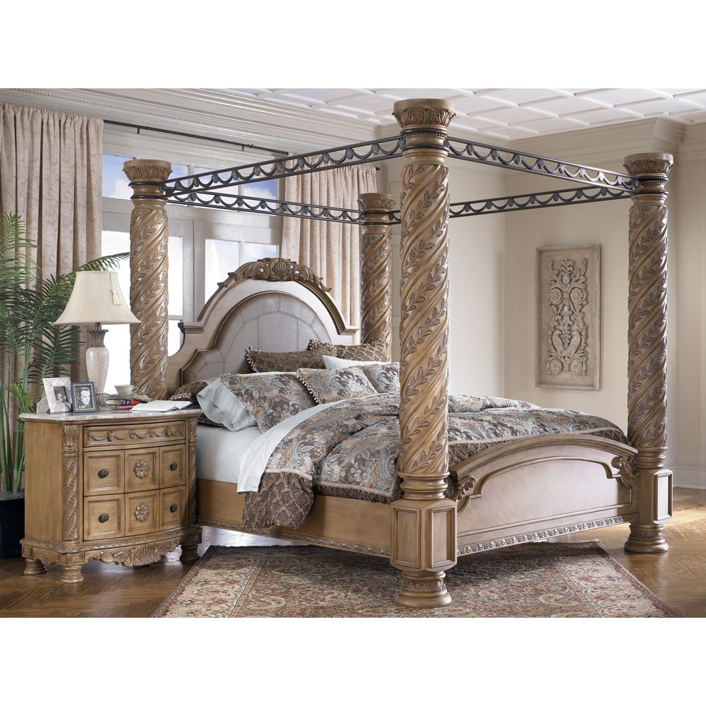 King Size Canopy Bed South Coast California Panelcanopy Bisque I Would Like It Better In A Darker Finish