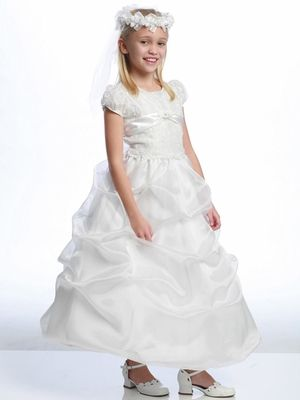 237c3be1ab White Embroidered Organza First Communion Dress