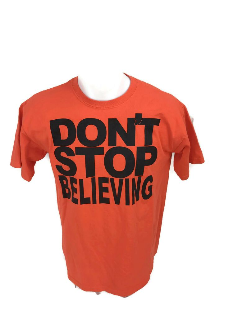 b1abf4ccc6b Vintage 1980s Men s Don t Stop Believing Orange Cropped Spellout T-Shirt  Size XL