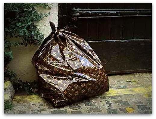 "Louis Vuitton Garbage Bag nothing says ""class"" like a louis vuitton stamped garbage bag"