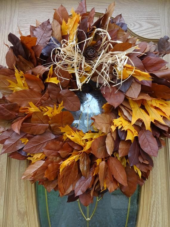 Photo of Autumn Wreath Fall Wreath Preserved Wreath Oak Leaves Front Door Wreath  Thanksgiving Decorations Wreath  Natural Wreath  Hostess Gift  24″