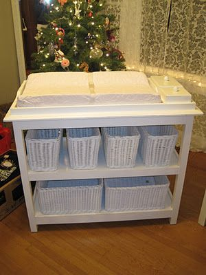 Superb Vintage White Wicker Changing Table | Pottery Barn Changing Table In White  With Wicker Basket Storage