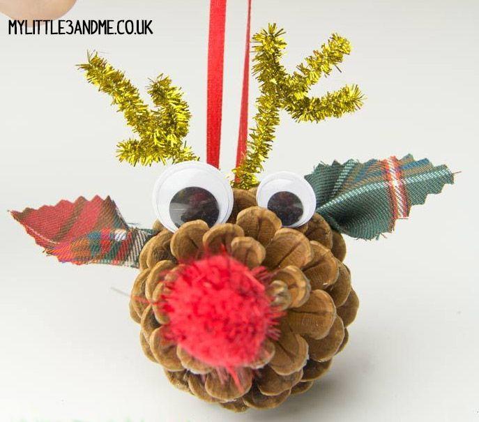 Adorno Reno Con Pina Diy Navidad Con Ninos Adornos Pinterest - Adornos-navidad-infantiles