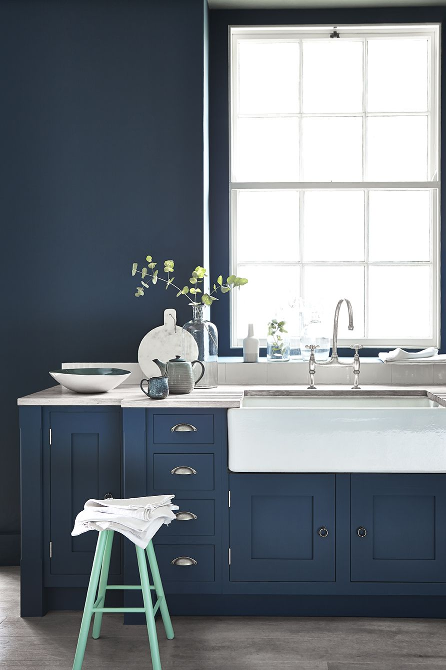 New Colour Combination In Paint Shades Blue Kitchen Cabinets Kitchen Cabinetry Beautiful Kitchen Designs