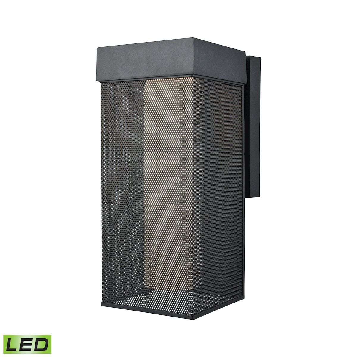 Estacada dimmable led outdoor wall sconce in matte black with opal
