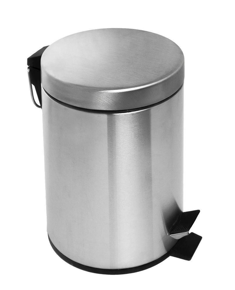Bathroom Trash Can Lid Small Round Brushed Stainless Steel Foot
