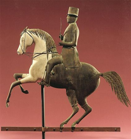 J. Howard & Company  Rearing horse with rider weathervane  West Bridgewater, Massachusetts, circa 1860  Private collection