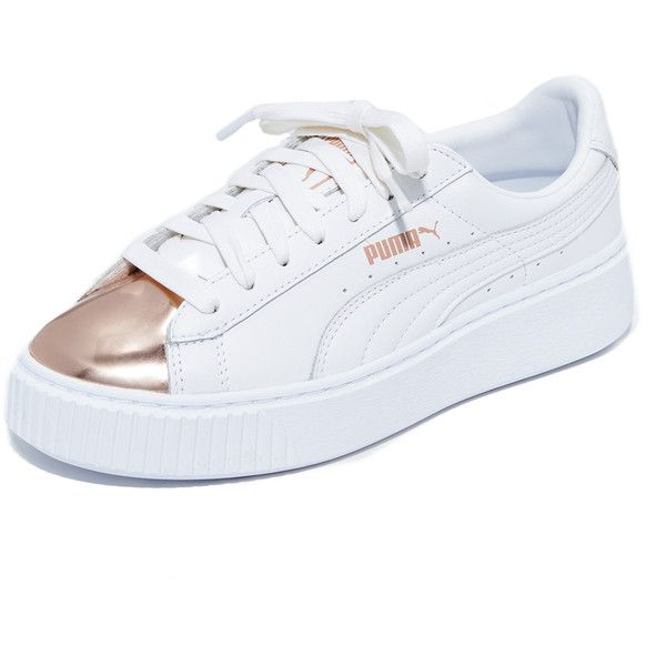 93157839ed4e PUMA Basket Platform Metallic Sneakers (127 AUD) ❤ liked on Polyvore  featuring shoes