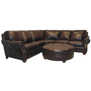 Brilliant Leather Sectional Couches Troy Chestnut Brown Italian Sofa And Ottoman Brass Intended Decorating