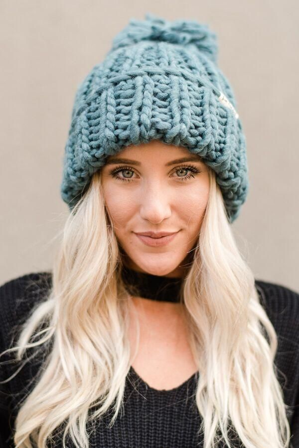 703d45a964e Chunky oversized pom-pom knitted beanies from Three Bird Nest. Boho  foldover beanie with large pom pom in our brushed acrylic cozy yarns!