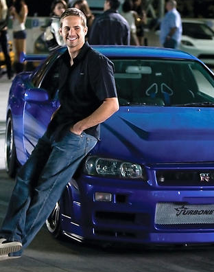 Paul Walker 24x36 Photo Poster Blue Nissan Skyline Gt R