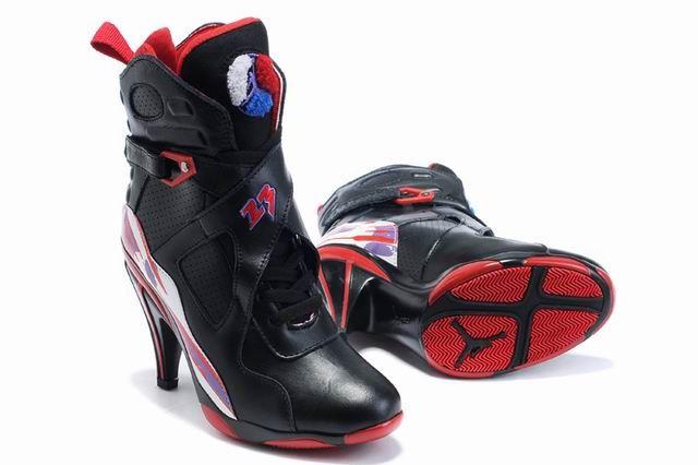b43fd3d685b908 Nike Air Jordan 8 High Heels Womens Black Red Wholesale Jordan Shoes