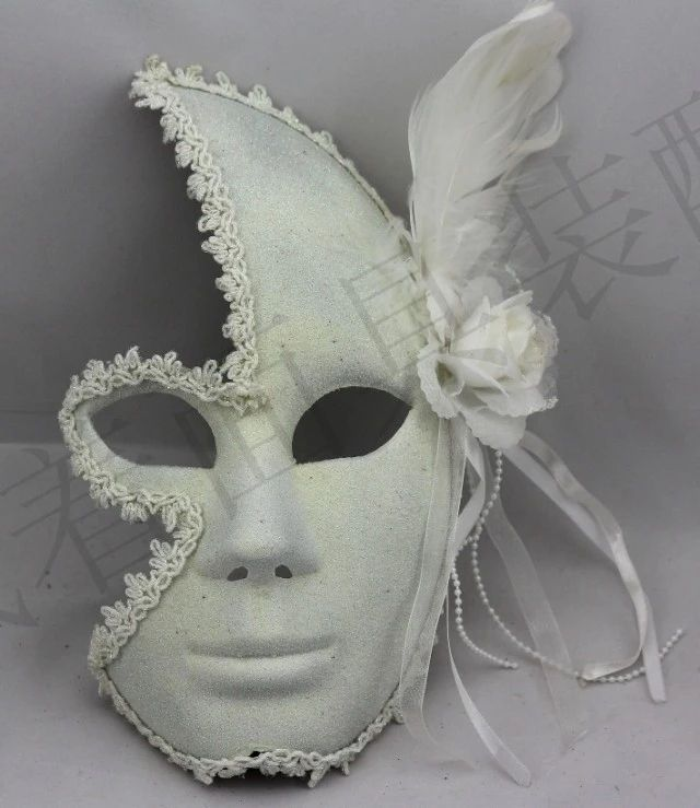 Venetian mask masquerade mask princess flower lace plus men and women feather full face mask white powder